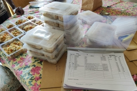 Lists of orders and food boxes being prepared for COVID patients and families [Courtesy of Plaksha Aggarwal]