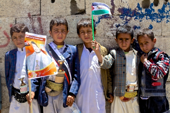 Children join a protest in Change Square, Sana'a, in August 2014 before President Abd-Rabbu Mansour Hadi left the country [Laura Silvia Battaglia/Al Jazeera]