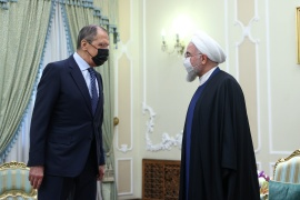 Iranian President Hassan Rouhani meets with Russia's Foreign Minister Sergey Lavrov in Tehran on Tuesday [Russian foreign ministry via Reuters]
