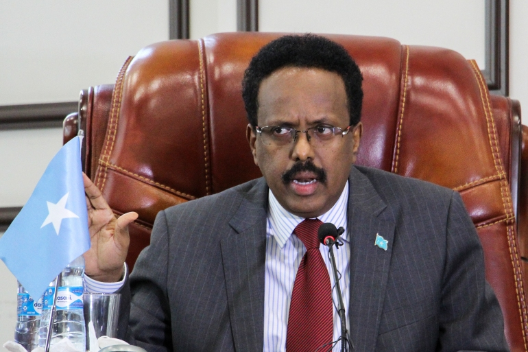 Somalia president Mohamed Abdullahi Mohamed, better known as Farmaajo, will address the nation on Tuesday [File: Said Yusuf Warsame/EPA]