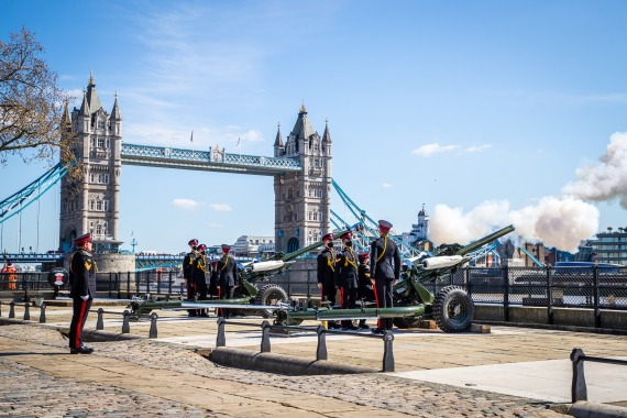 A single round of a gun salute was fired at 3pm (14:00 GMT) followed by a single round at 3:01pm to begin and end the National Minute Silence before the funeral service of Britain's Prince Philip, at The Tower of London. [Handout: CPL Ed Wright/RAF via EPA]