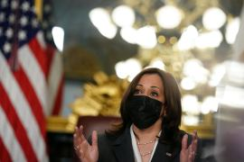 Sanctions against Guatemalan officials accused of corruption came just hours before United States Vice President Kamala Harris (pictured) was due to meet with Guatemalan President Alejandro Giammattei to discuss an increase in Central American migration that has led to a crisis at the US-Mexico border [File: Kevin Lamarque/Reuters]