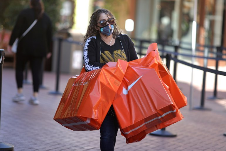 Retail sales increased 9.8 percent last month, the United States Department of Commerce said on Thursday [File: Lucy Nicholson/Reuters]