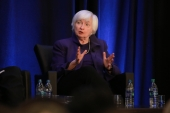 Treasury Secretary Janet Yellen pledged that the United States will help developing countries that are especially vulnerable to threats from climate change, but stopped short of making any specific financial promises on that front [File: Bloomberg]