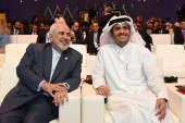Qatari Foreign Minister Sheikh Mohammed bin Abdulrahman Al Thani, pictured in Doha with Iranian Foreign Minister Mohammad Javad Zarif, has called for dialogue between the GCC and Iran [File: Ammar Abd Rabbo/Doha Forum via AFP]