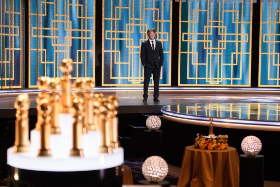 Sean Penn on stage at a pared-down Golden Globe Awards in Beverly Hills in February [File: HFPA via AFP]