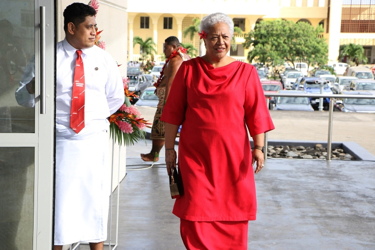 Fiame Naomi Mataafa, (right), is a former deputy prime minister who split with the government last year after opposing changes to Samoa's constitution and judicial system [Handout/ FAST/ AFP]