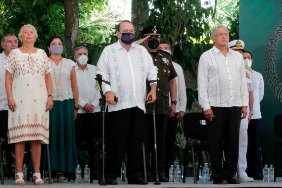 Mexican President Andres Manuel Lopez Obrador, his Guatemalan counterpart Alejandro Giammattei, and his Secretary of the Interior Olga Sanchez Cordero stand during the Appeal for Forgiveness for Grievances to the Mayan People ceremony in Felipe Carrillo Puerto, Quintana Roo State, Mexico [AFP]