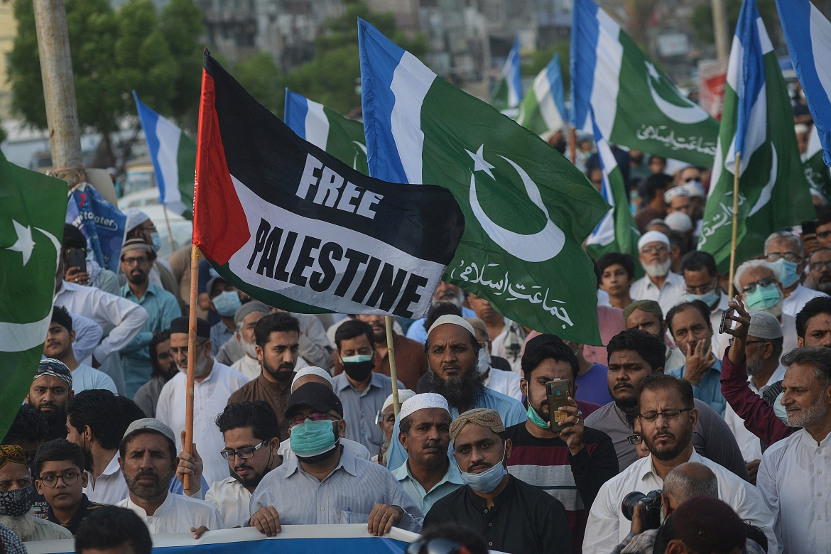 In Karachi, protesters took to the streets to denounce Israel's deadly air raids on Gaza. [Rizwan Tabassum/AFP]