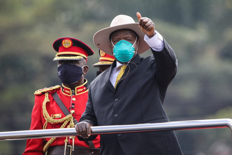 Museveni recently announced curbs on movement and shuttered schools, churches and bars [File: Badru Katumba/AFP]