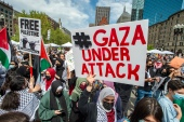 Thousands of protesters gather during a rally to support Palestine at Copley Square in Boston, Massachusetts, on May 15 [Joseph Prezioso/AFP]