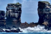 The Darwin Arch in the Galapagos after it collapsed due to what environmental officials said was 'natural erosion' [Hector Barrera/Ecuador's Ministry of Environment via AFP]