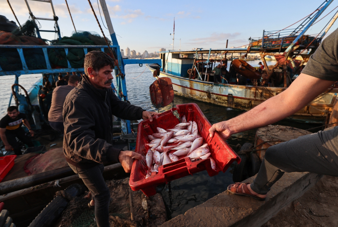 About 70,000 Palestinians in Gaza make a living directly or indirectly from fishing. [Emmanuel Dunand/AFP]