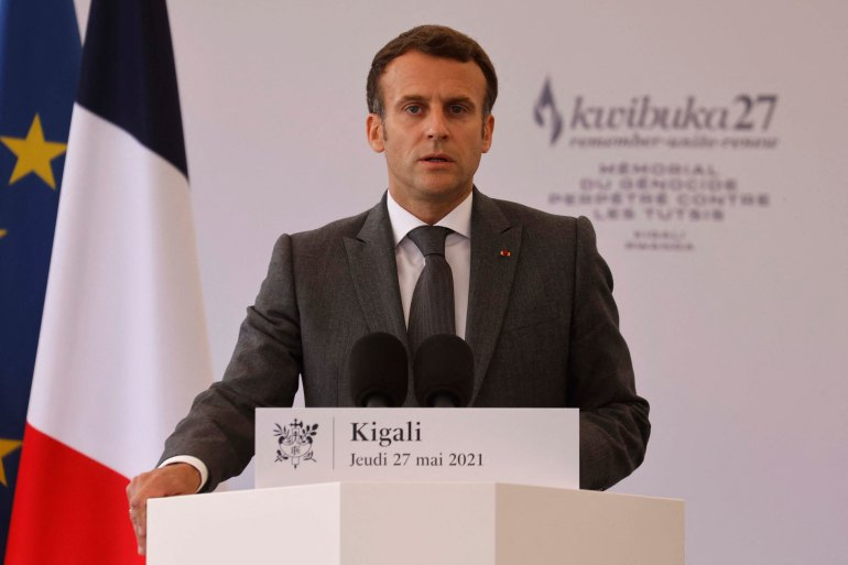 French President Emmanuel Macron delivers a speech during his visit to the Kigali Genocide Memorial [Ludovic Marin/AFP]