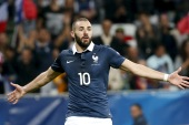 Benzema made the last of his 81 appearances for France in a friendly against Armenia in October 2015 [Eric Gaillard/Reuters]