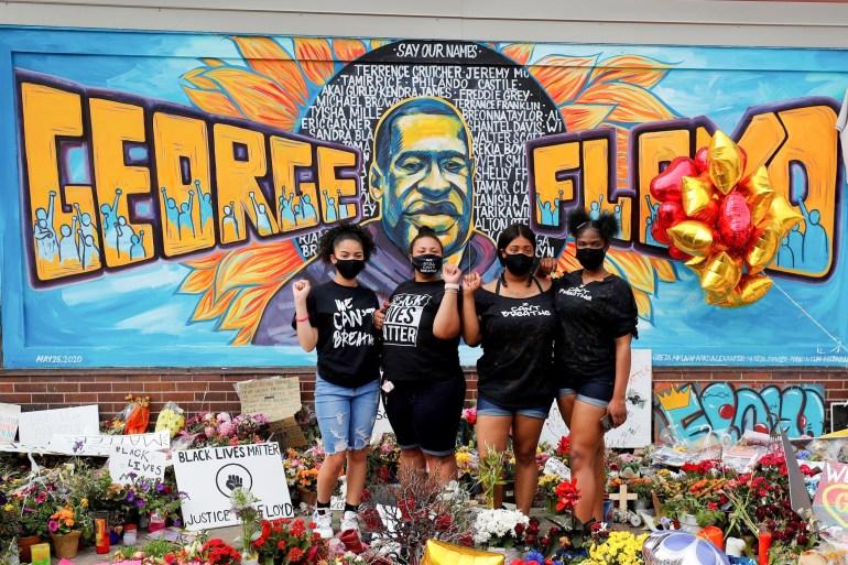 Protesters demanding police reform memorialised George Floyd, who died in Minneapolis police custody in May 2020 [File: Adam Bettcher/Reuters]
