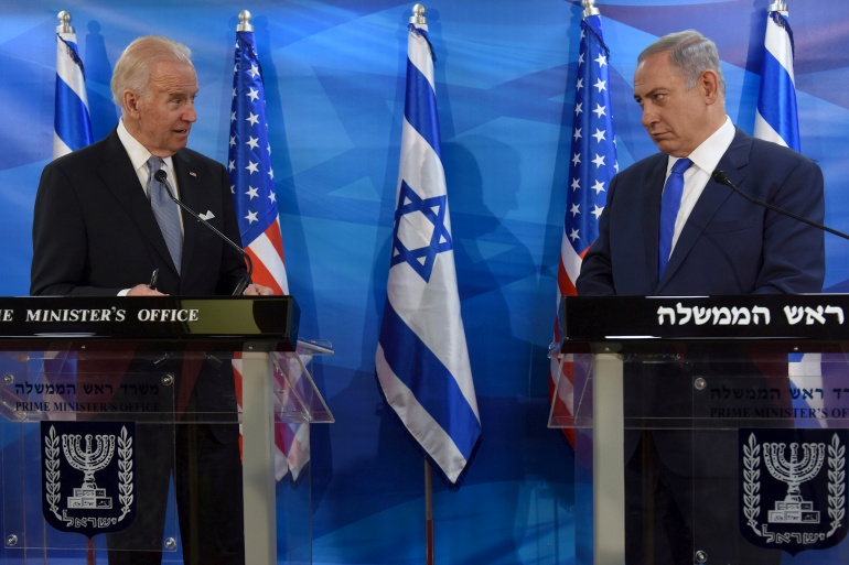 In this 2016 photo, US Vice President Joe Biden and Israeli Prime Minister Benjamin Netanyahu look at each other as they deliver joint statements during their meeting in Jerusalem on March 9, 2016 [File: Reuters/Debbie Hill]