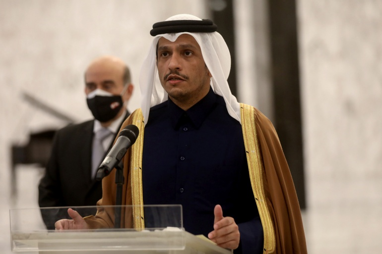 Qatar's foreign minister announced the pledge for reconstruction in a tweet [File: Mohamed Azakir/Reuters]