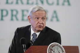 Mexico's President Andres Manuel Lopez Obrador has asked for confirmation of US funding to anti-graft group ahead of meeting with US Vice President Kamala Harris [File: Henry Romero/Reuters]