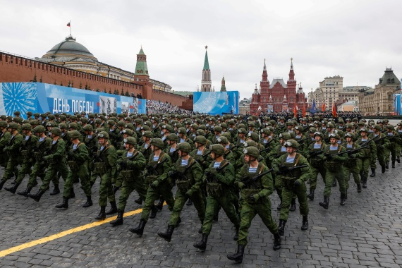 Russian soldiers march in a military parade in Moscow on Sunday marking the defeat of the Nazis [Maxim Shemetov/Reuters]