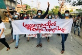 People in Myanmar continue to protest against the military coup [Stringer/Reuters]