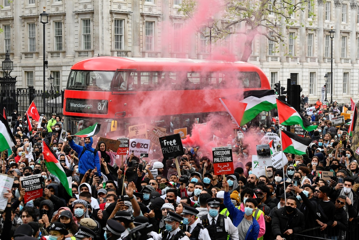 People in London also expressed their solidarity with Palestinians. [Toby Melville/Reuters]