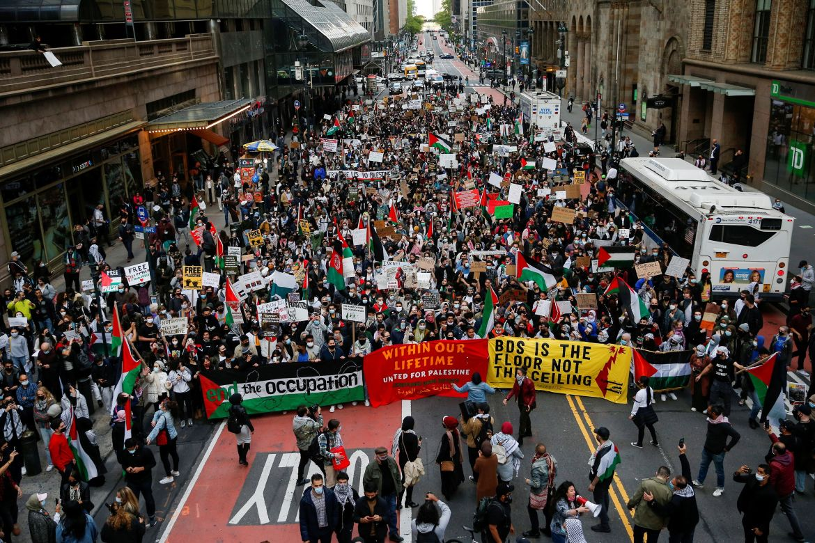 Pro-Palestinian supporters in New York marched near the Israeli consulate. [Eduardo Munoz/ Reuters]