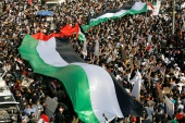 Hundreds of demonstrators have gathered in cities across Iraq to stand in solidarity with Palestinians in Gaza and Jerusalem [Reuters]