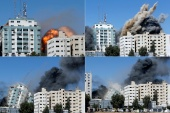 A combination picture shows al-Jalaa building as it collapses after being hit by Israeli missiles [Mohammed Salem/Reuters]