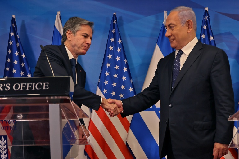 Blinken pledged that Washington would rally support to rebuild Gaza as part of efforts to bolster a ceasefire between Hamas and Israel [Menahem Kahana/Pool via Reuters]