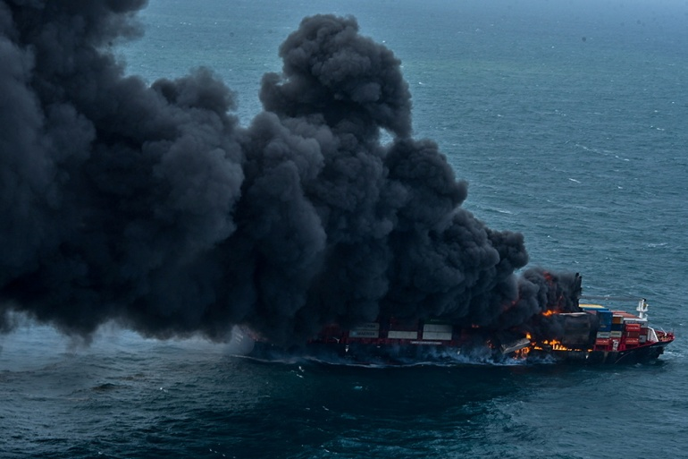 Smoke rises from a fire on board the MV X-Press Pearl container ship off Colombo [Sri Lanka Air Force Media via Reuters]