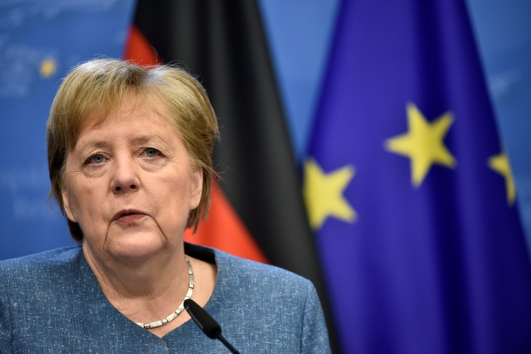 In addition to Merkel, above, the NSA spied on the German foreign minister and former opposition leader at the time, DR said [File: John Thys/Pool via Reuters]