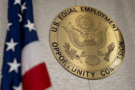 The United States Equal Employment Opportunity Commission enforces federal workplace anti-discrimination laws, including Title VII of the 1964 Civil Rights Act, which prohibits bias based on race, national origin, and other protected statuses [File: Andrew Harrer/Bloomberg]