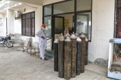 Empty oxygen cylinders kept at a local health facility in Bhatinda, Punjab [Lalita Verma/Al Jazeera]