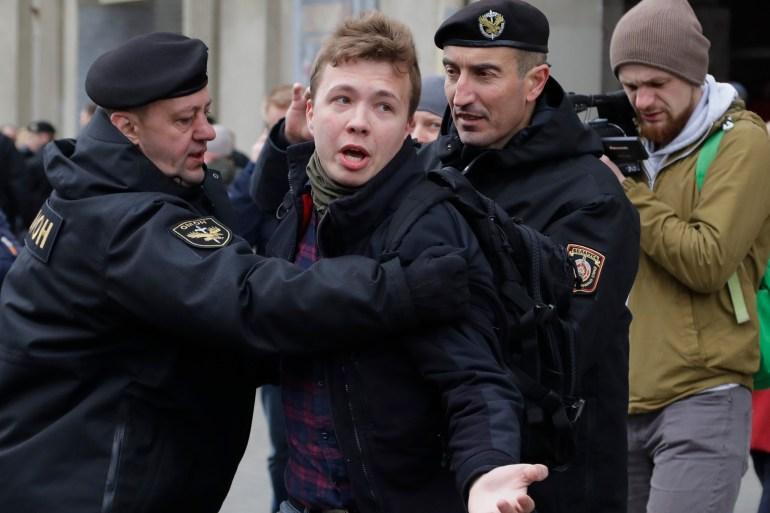 Belarus police detain journalist Roman Protasevich in Minsk, Belarus, 2017 [File: Sergei Grits/AP Photo]