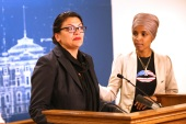 Rashida Tlaib (left) and Ilhan Omar [File: Jim Mone/AP Photo]