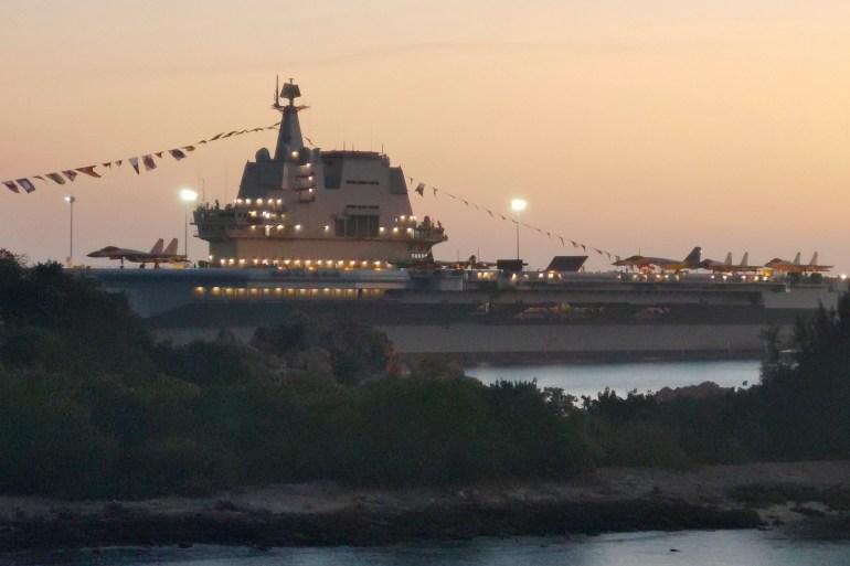 Shandong, kapal induk buatan sendiri pertama di China, menggarisbawahi kebangkitannya sebagai kekuatan angkatan laut regional pada saat ketegangan dengan AS File Li Gang / Xinhua via AP