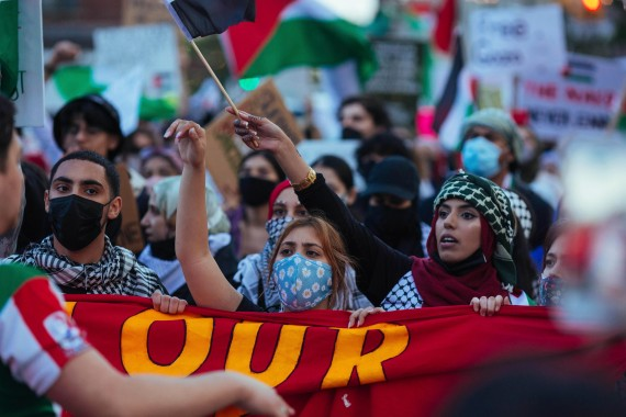 Thousands of activists supporting Palestine march during a rally Saturday, May 15, 2021, in New York [Kevin Hagen/AP]