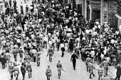 British colonial forces clear the streets in Jaffa on May 1, 1936 during disturbances between Palestinians and Jews, in which several on both sides were killed [File: AP]