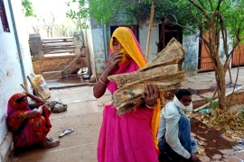 Bhramari Bai collects wood for a crematorium in Madhya Pradesh's Shivpuri district [Mayank Jain Parichha/Al Jazeera]