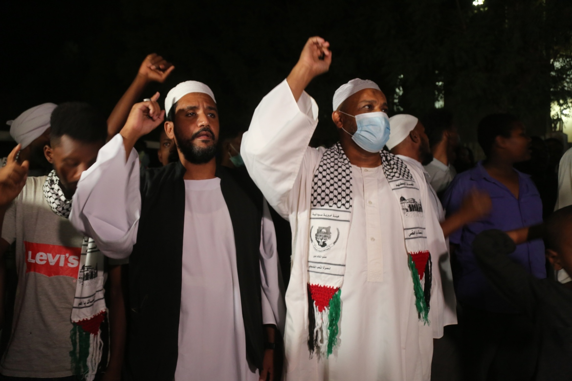 People in Sudan's capital, Khartoum, rallied against Israel's actions in Gaza and the occupied West Bank. [Mahmoud Hjaj/Anadolu/Getty Images]