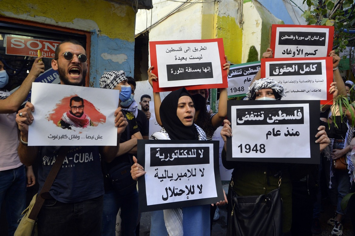 Palestinian refugees at Mar Elias camp in Beirut, Lebanon also staged a protest. [Hussam Shbaro/Anadolu/Getty Images]