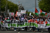 Pro-Palestinian protesters seen on O'Connell Street, Dublin, during a 'Rally for Palestine' protest. On Saturday, 22 May 2021, in Dublin, Ireland. (Photo by Artur Widak/NurPhoto via Getty Images)