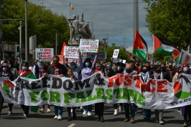 Pro-Palestinian protesters seen on O'Connell Street, Dublin, during a 'Rally for Palestine' protest on Saturday, May 22, 2021. (Photo by Artur Widak/NurPhoto via Getty Images)