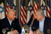 Joe Biden, then acting as US Vice President, sits with Israel's Prime Minister Benjamin Netanyahu in Jerusalem in March 2010 [File: Baz Ratner/Reuters]