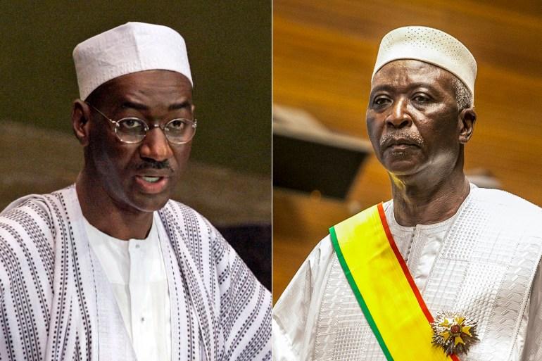 Former Prime Minister Moctar Ouane, left, and President Bah Ndaw [File: AP Photo]