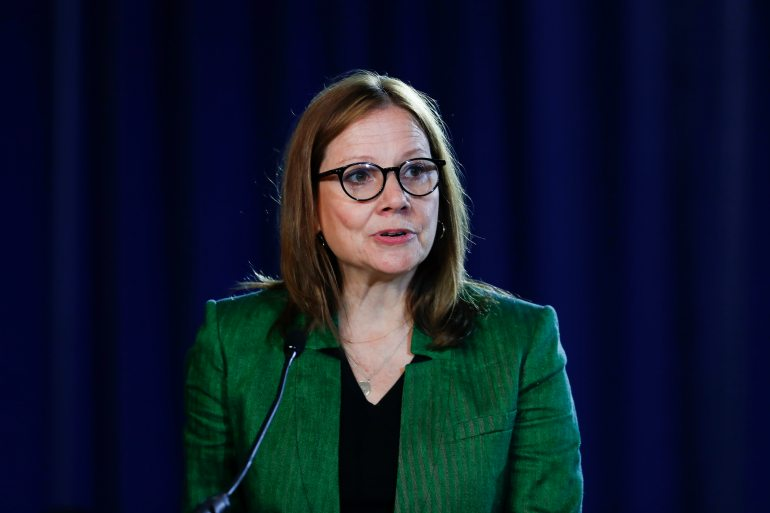 General Motors CEO Mary Bara in 2020 ranked as second-highest-paid among women, with a compensation package worth $23.2m [File: Paul Sancya/AP Photo]