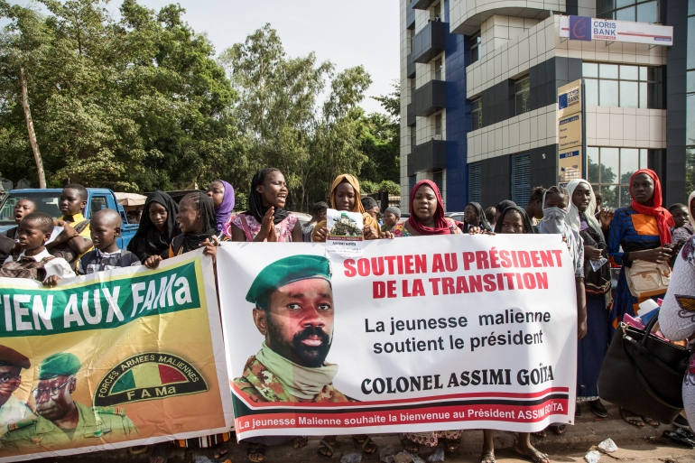Goita dismissed civilian President Bah Ndaw and Prime Minister Moctar Ouane on May 24 after accusing them of failing to consult him about a Cabinet reshuffle [Anne Risemberg/AFP]
