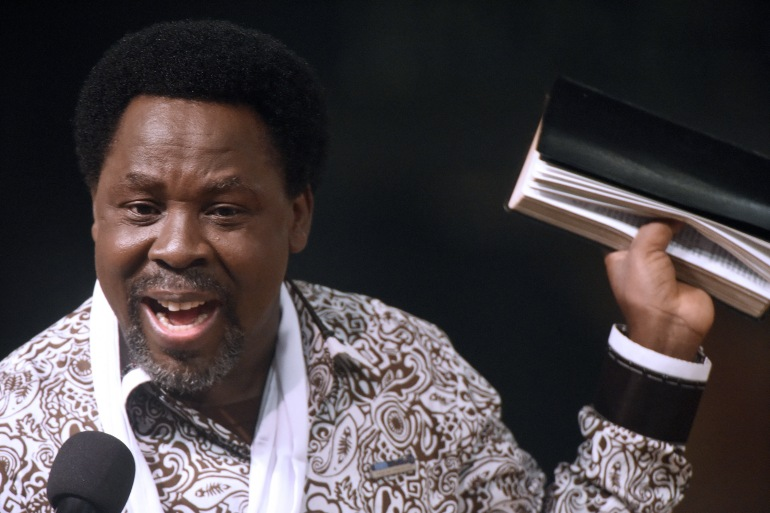 TB Joshua was noted for making predictions and for his claims to cure various ailments and to make people prosper through miracles [Pius Utomi Ekpei/AFP]