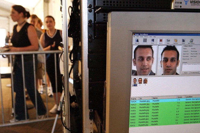 Facial recognition technology is used to screen people before they visit the Statue of Liberty in New York on May 25, 2002. The NYPD is facing calls to end its use of the technology, which rights groups say threatens civil liberties [File: Chip East/Reuters]